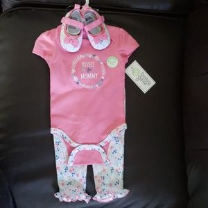 3 piece baby girl outfit with shoes